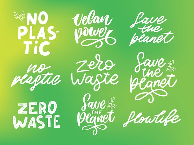 Organic set zero waste, vegan, save the planet