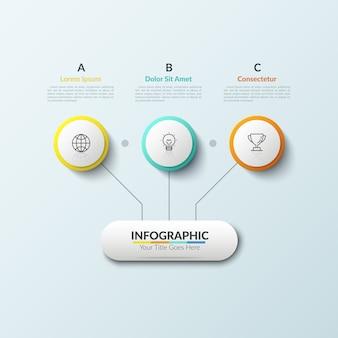 Organigramme. élément principal relié par des lignes avec trois icônes linéaires placées à l'intérieur de cercles et de zones de texte en lettres. concept de schéma stratégique.
