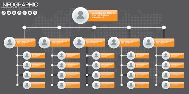Organigramme de l'entreprise avec des icônes de personnes. illustration vectorielle.