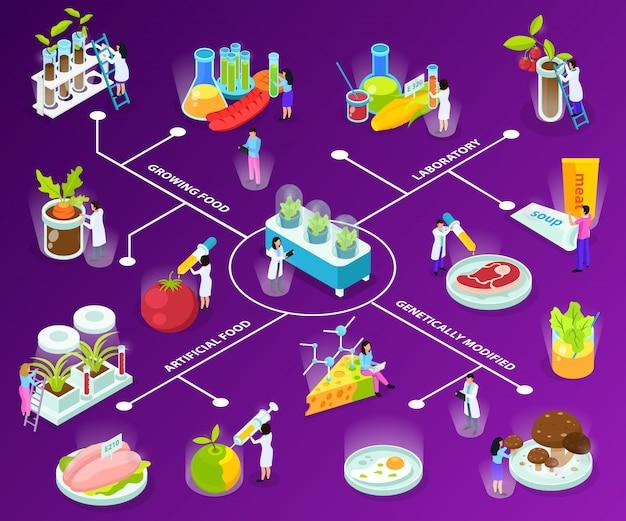 Organigramme isométrique des aliments artificiels avec des scientifiques lors d'expériences avec la consommation d'ingrédients sur violet