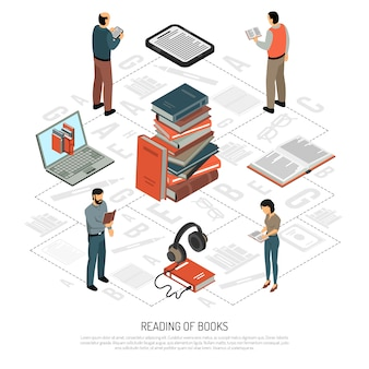 Organigramme isométrique de lecture de livre