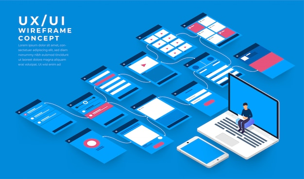 Organigramme ux ui. s concept d'application mobile isométrique. illustration.