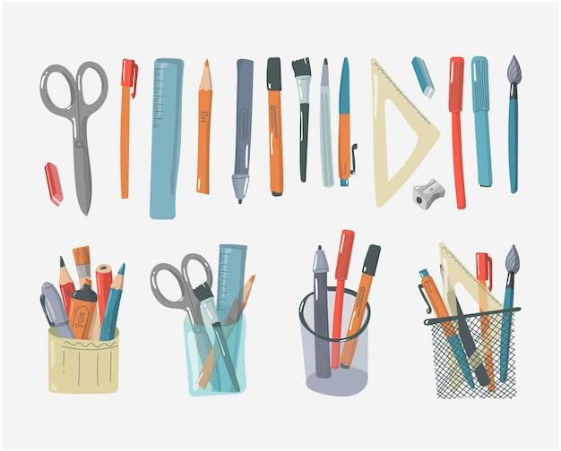Organisateur de bureau et fournitures scolaires design plat matériel d'écriture porte-crayon et règle