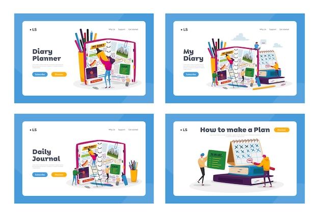 Organisateur, ensemble de modèles de page de destination pour ordinateur portable