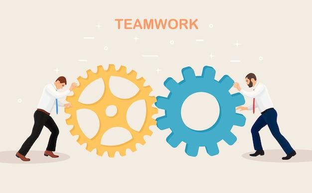 Organisation commerciale avec roues dentées, engins. travail en équipe