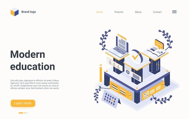 Organisation numérique de la page de destination isométrique de la technologie en ligne de l'éducation moderne