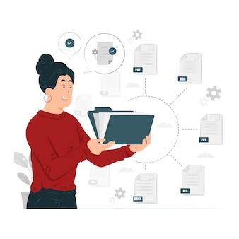 Organiser l'illustration de concept de fichier texte