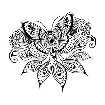 Oriental floral papillon mandala art beauté mandala motif arabe islamique est style ramadan