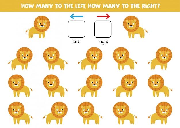 Orientation spatiale pour les enfants. gauche ou droite. lions de dessin animé mignon.