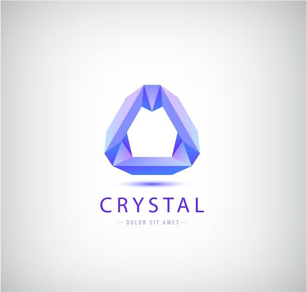 Origami abstrait, forme géométrique en cristal, logo, identité d'entreprise. icône de technologie futuriste moderne, isolée