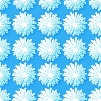 Origami blanc motif floral sans soudure sur fond bleu.
