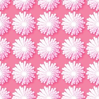 Origami blanc motif floral sans soudure sur fond rose.