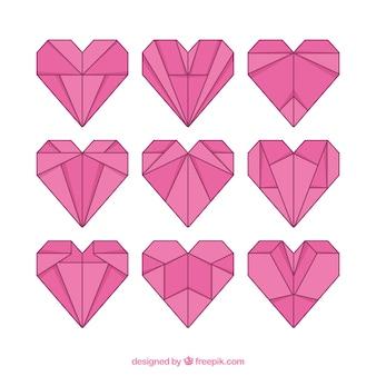Origami coeurs linéaires