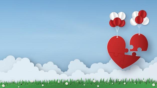 Origami fait du papier mobile de la royauté de puzzle coeur sur ciel bleu, espace copie, concept de la saint-valentin. conception d'art en papier et style artisanal. vecteur et illustration.