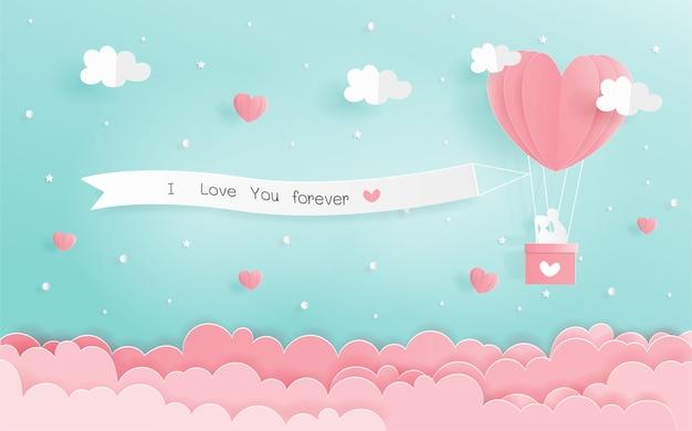 Origami de papier du concept de l'amour