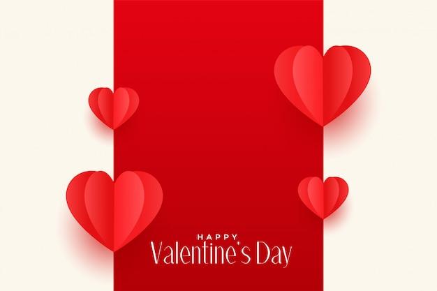 Origami rouge coeurs conception de voeux saint valentin