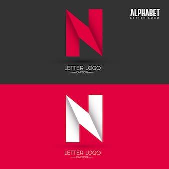 Origami style n lettre logo
