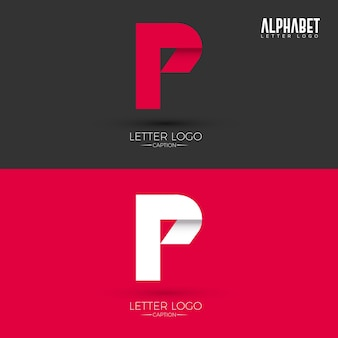 Origami style p lettre logo