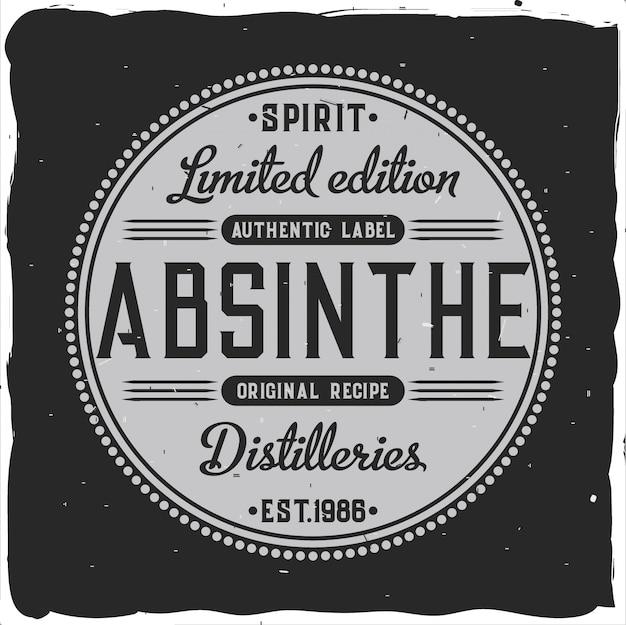Original étiquette d'absinthe artisanale dans un style fort