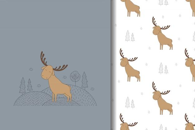 Orignal mignon carte dessinée à la main et modèle sans couture. illustration pour les enfants.