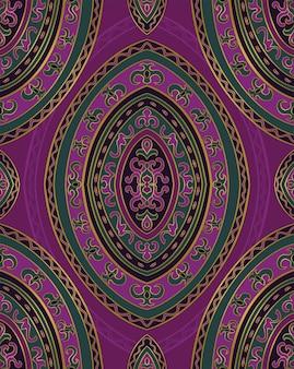 Ornement abstrait lilas et vert. modèle vectorielle continue.
