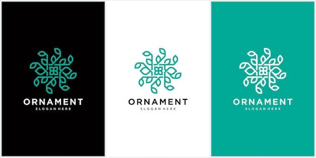 Ornement abstrait logo icône vecteur feuille ornement