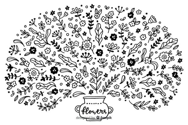 Ornement d'arbre fleurissant dessiné à la main