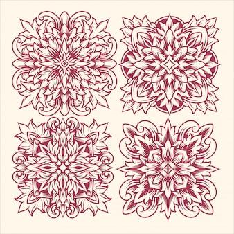 Ornement art ligne fleur