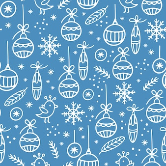 Ornement blanc dessiné à la main de noël sur motif transparent bleu clair
