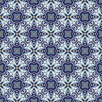 Ornement bleu traditionnel azulejos portugais. modèle sans couture oriental