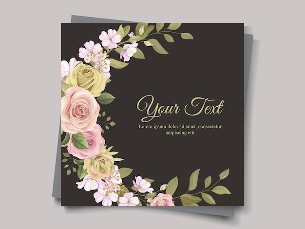 Ornement de bouquets colorés pour carte de mariage