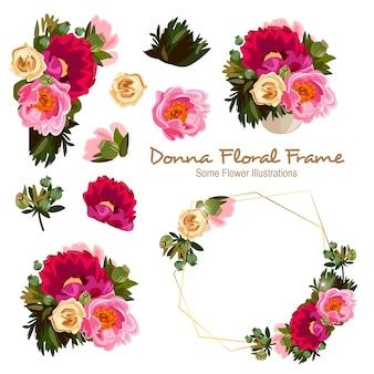 Ornement de cadre floral géométrique de donna