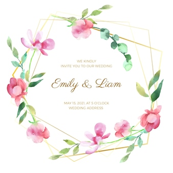 Ornement de cadre floral de mariage