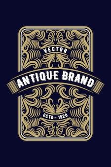 Ornement carré calligraphique étiquette de logo antique occidental de cadre de frontière de luxe vintage