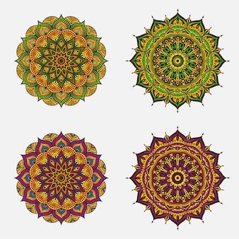 Ornement de cercle abstrait avec concept de fleurs colorées