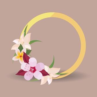 Ornement circulaire de fleurs tropicales avec des feuilles