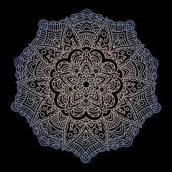 Ornement circulaire mandala sur fond noir