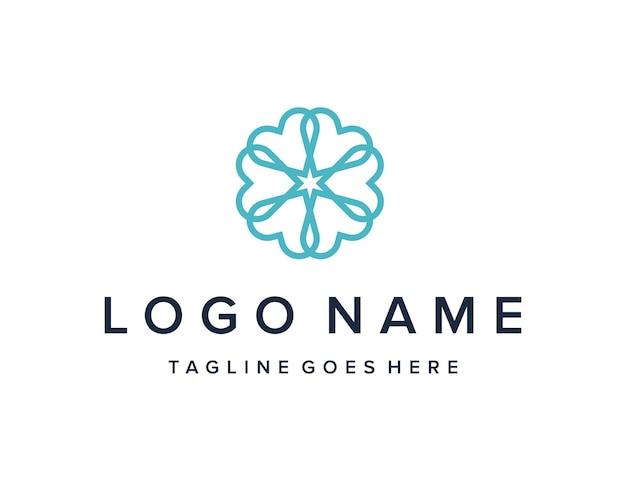 Ornement coeur rotation décoration simple élégant créatif géométrique moderne conception de logo
