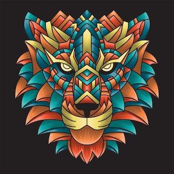 Ornement coloré doodle illustration tigre