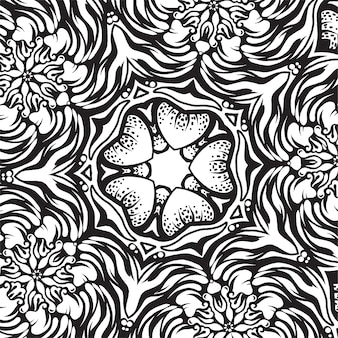 Ornement complexe, dessin noir et blanc