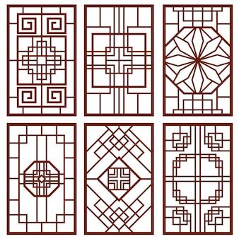 Ornement coréen traditionnel de porte et fenêtre
