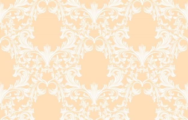 Ornement de damassé motif illustration ornement à la main. textures d'arrière-plan baroques