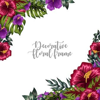 Ornement décoratif cadre floral coloré