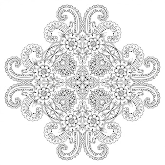 Ornement décoratif circulaire de style oriental ethnique, en forme de mandala avec décoration florale. contour doodle part dessiner illustration.