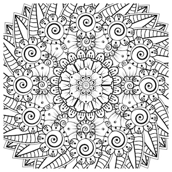 Ornement décoratif fleur mehndi dans un style oriental ethnique doodle ornement contour main dessiner