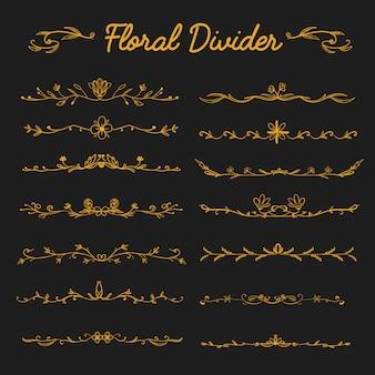 Ornement de diviseur floral or élégant