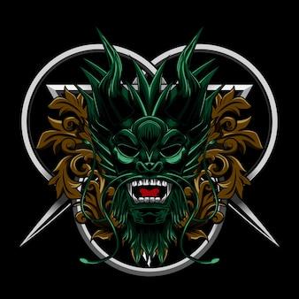 Ornement de dragon en colère