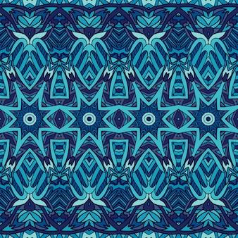 Ornement ethnique bleu foncé de vecteur