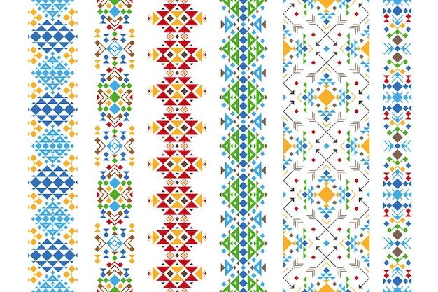 Ornement Ethnique De Couleur. Illustration Géométrique De Broderie Indigène. Vecteur Premium