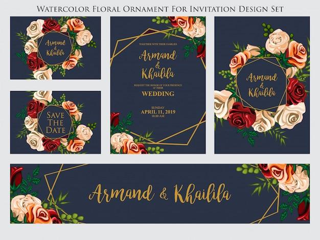 Ornement floral aquarelle pour jeu de conception invitation
